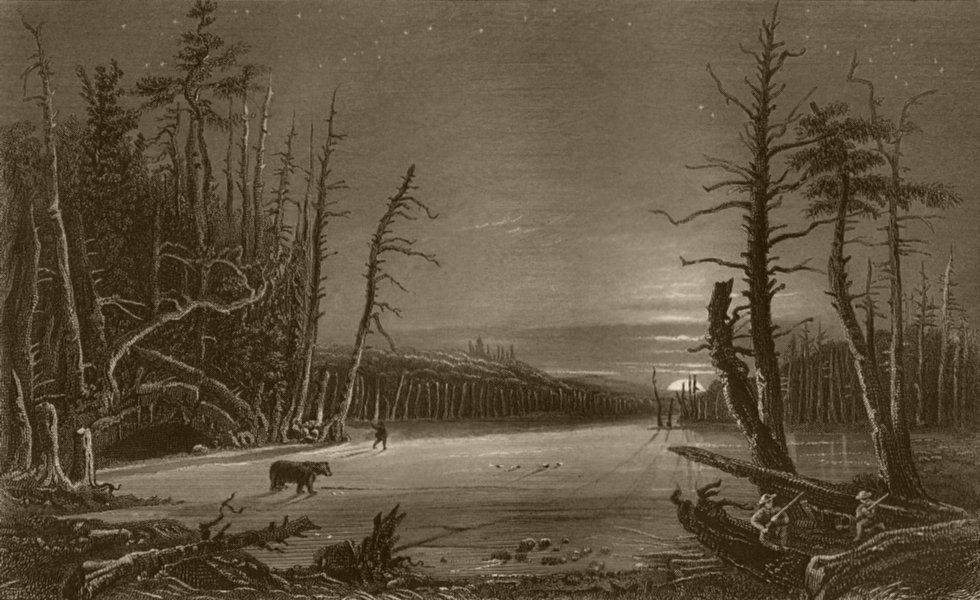 Associate Product Winter Scene on the Catterskill, New York. WH BARTLETT 1840 old antique print