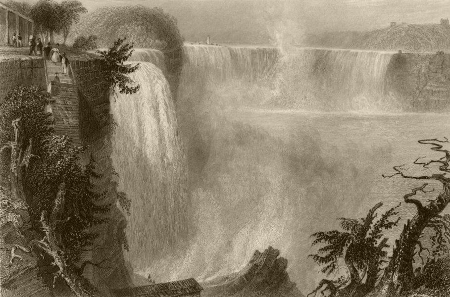 Associate Product Niagara Falls from top of the Ladder. American side. New York. BARTLETT 1840