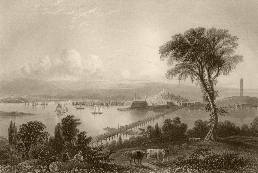 Associate Product Boston, and Bunker Hill, Massachusetts. WH BARTLETT 1840 old antique print