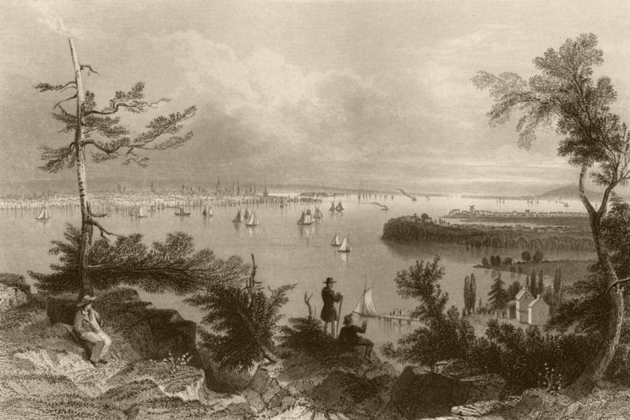 Associate Product View of New York, from Weehawken, New York. WH BARTLETT 1840 old antique print