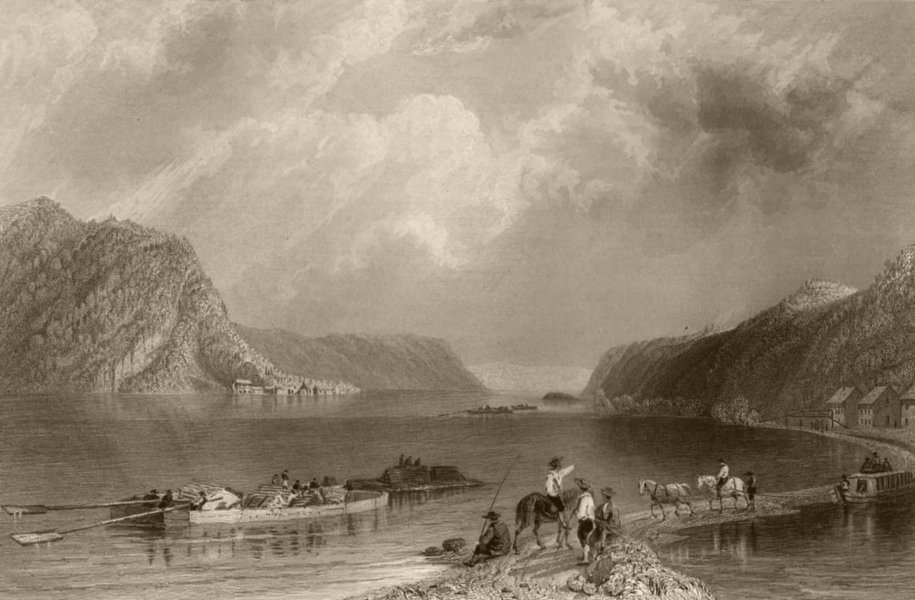 Associate Product View on the Susquehannah, at Liverpool, Pennsylvania. WH BARTLETT 1840 print