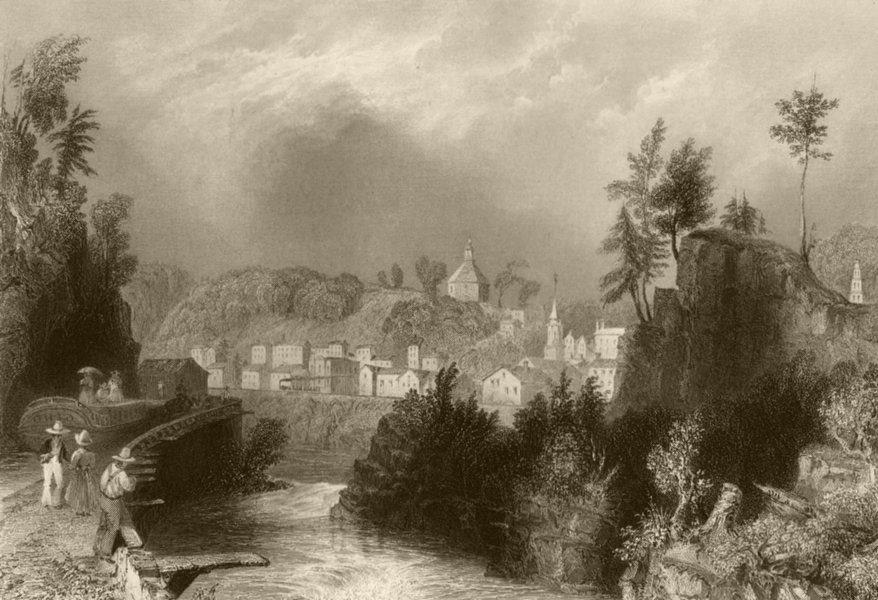 Associate Product Village of Little Falls (Mohawk River), New York. WH BARTLETT 1840 old print