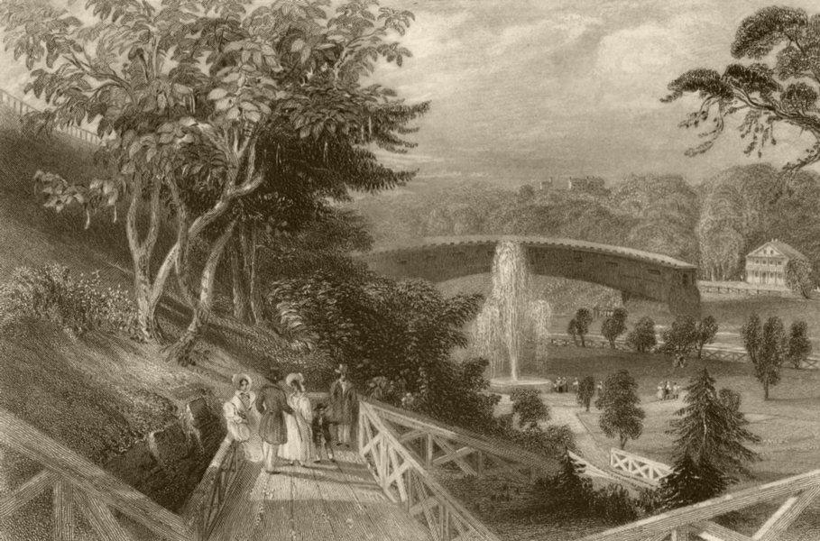 Fairmount Gardens, Schuykill Bridge, Philadelphia, Pennsylvania. BARTLETT 1840
