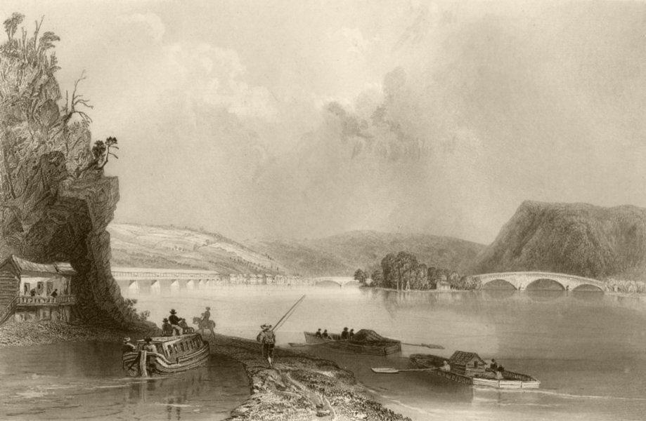 Associate Product View of Northumberland (on the Susquehanna), Pennsylvania. WH BARTLETT 1840