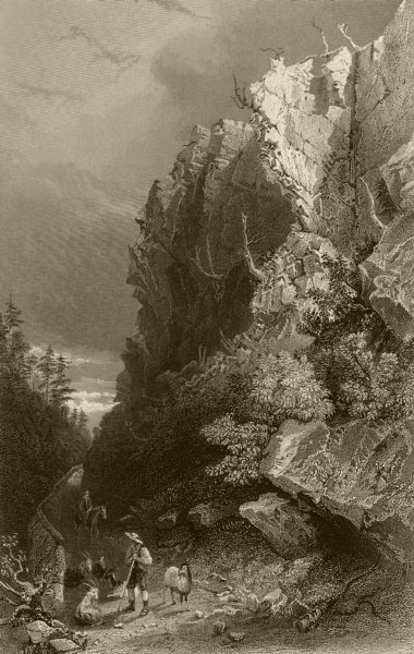 Associate Product Pulpit Rock, White Mountains, New Hampshire. WH BARTLETT 1840 old print