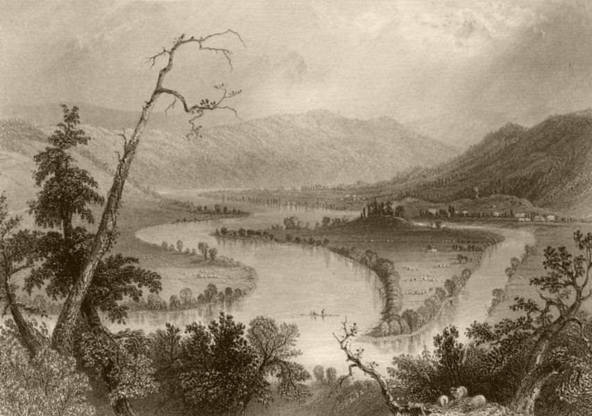 Associate Product View on the Susquehanna (above Owego), New York. WH BARTLETT 1840 old print
