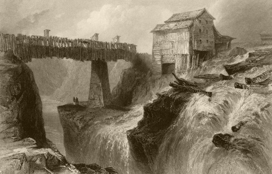 Associate Product Bridge at Glens Fall (on the Hudson), New York. WH BARTLETT 1840 old print