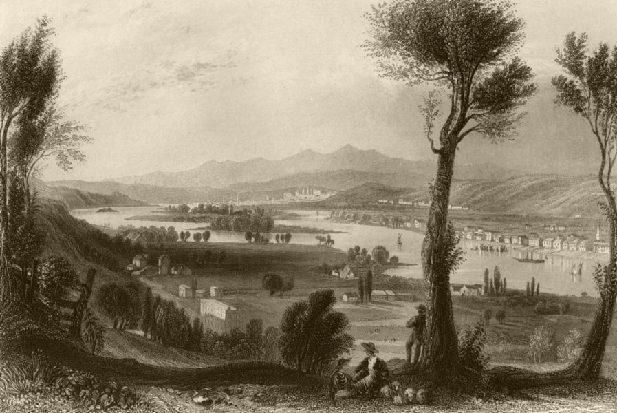 Associate Product View from Mount Ida (near Troy), New York. WH BARTLETT 1840 old antique print