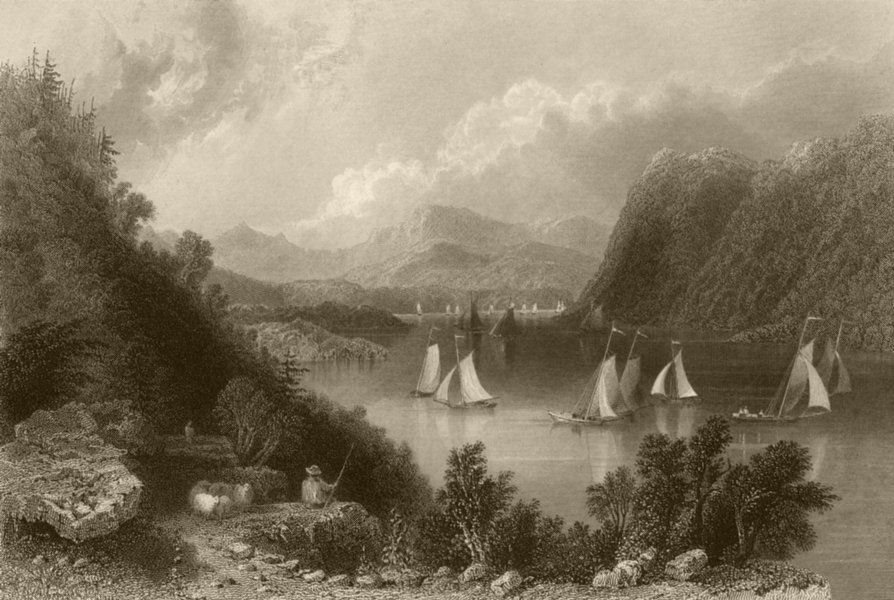 Associate Product View near Anthony's Nose (Hudson Highlands), New York. WH BARTLETT 1840 print