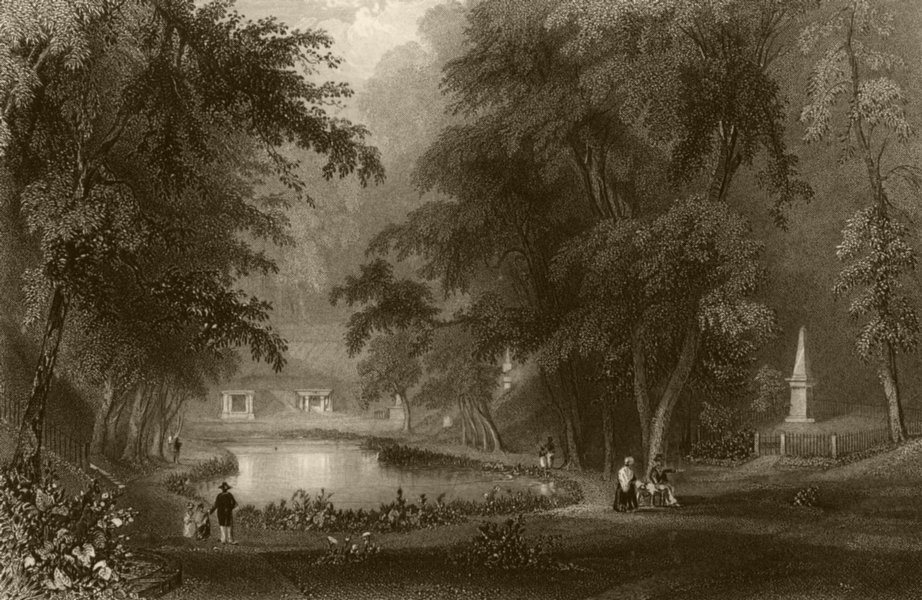 Associate Product Cemetery of Mount Auburn, Massachusetts. WH BARTLETT 1840 old antique print