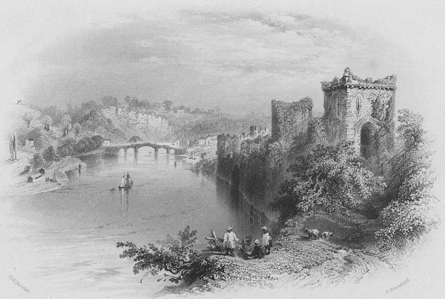 Associate Product WALES. Chepstow Castle & bridge-Bartlett c1860 old antique print picture