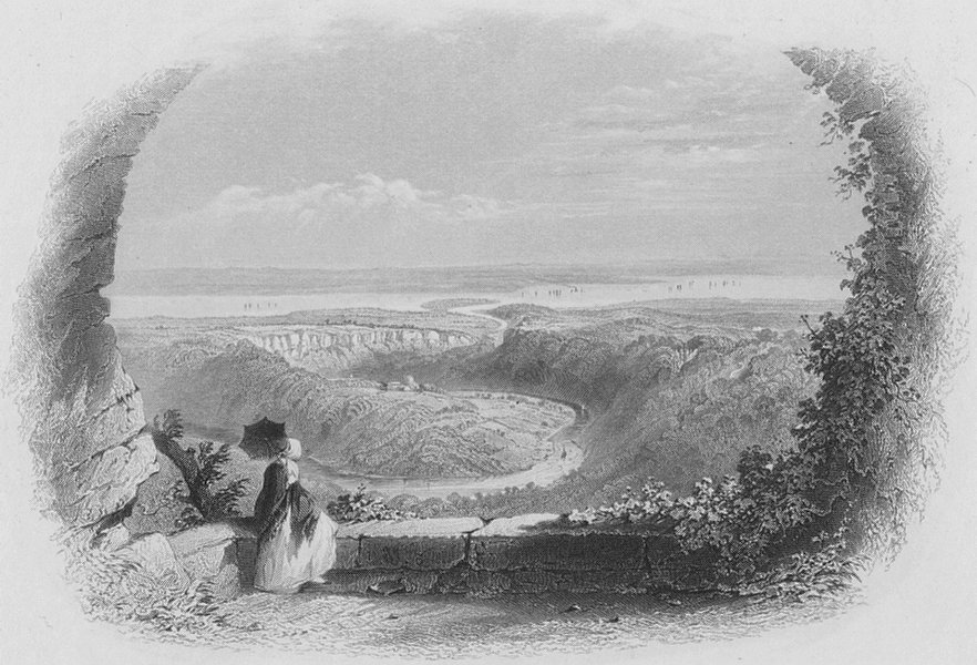 CHEPSTOW. Castle & Town from Windcliff-Bartlett c1860 old antique print