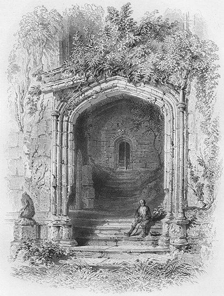 Associate Product WALES. Gateway, Fountain Ct, Raglan Castle-Bartlett c1860 old antique print