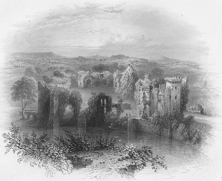 Associate Product WALES. Battlements, Raglan Castle-Bartlett c1860 old antique print picture
