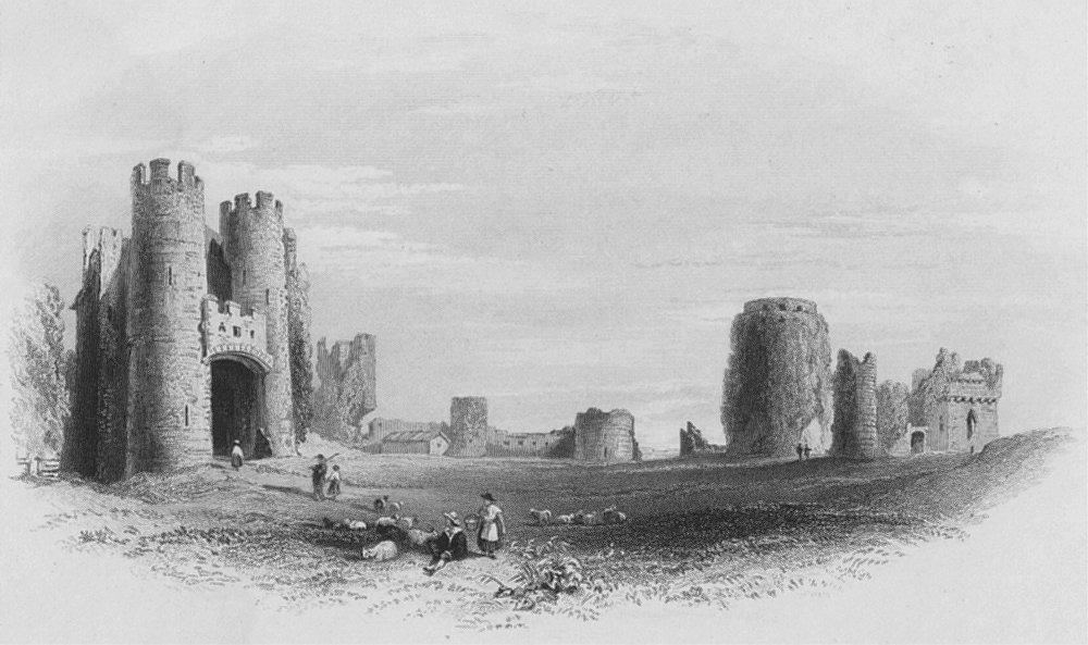 Associate Product WALES. Pembroke Castle, Great Court-Bartlett c1860 old antique print picture