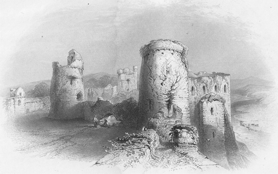 Associate Product WALES. Kidwelly Castle from Battlements-Bartlett c1860 old antique print