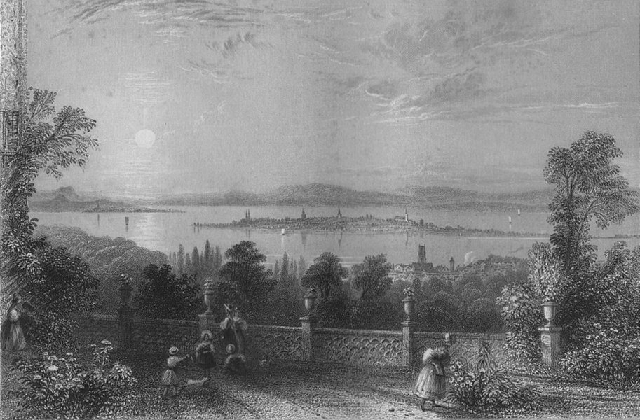 Associate Product SWITZERLAND. Constance & the Lake from Chateau Wolfsberg (Thurgau).BARTLETT 1836
