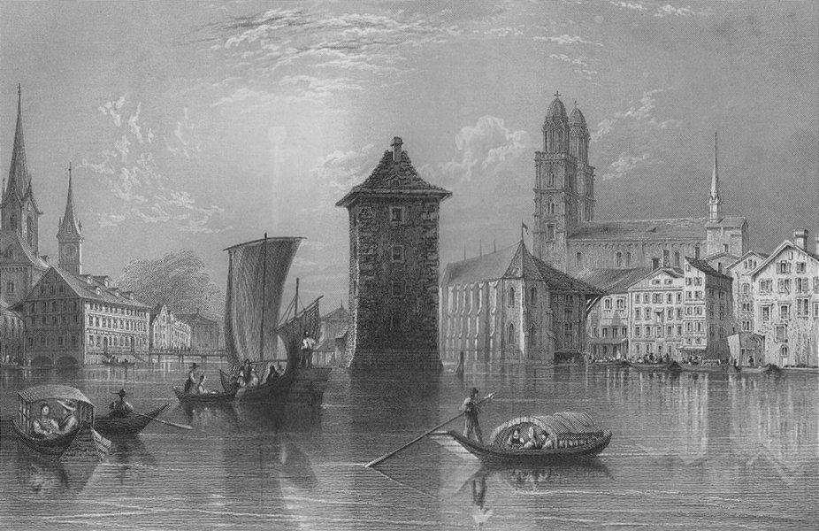 Associate Product SWITZERLAND. View of Zurich / Zürich. BARTLETT 1836 old antique print picture
