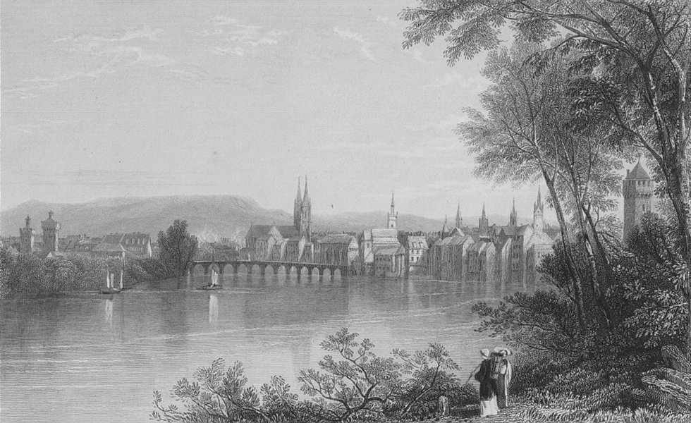 Associate Product SWITZERLAND. View of Basle / Basel, on the Rhine. BARTLETT 1836 old print