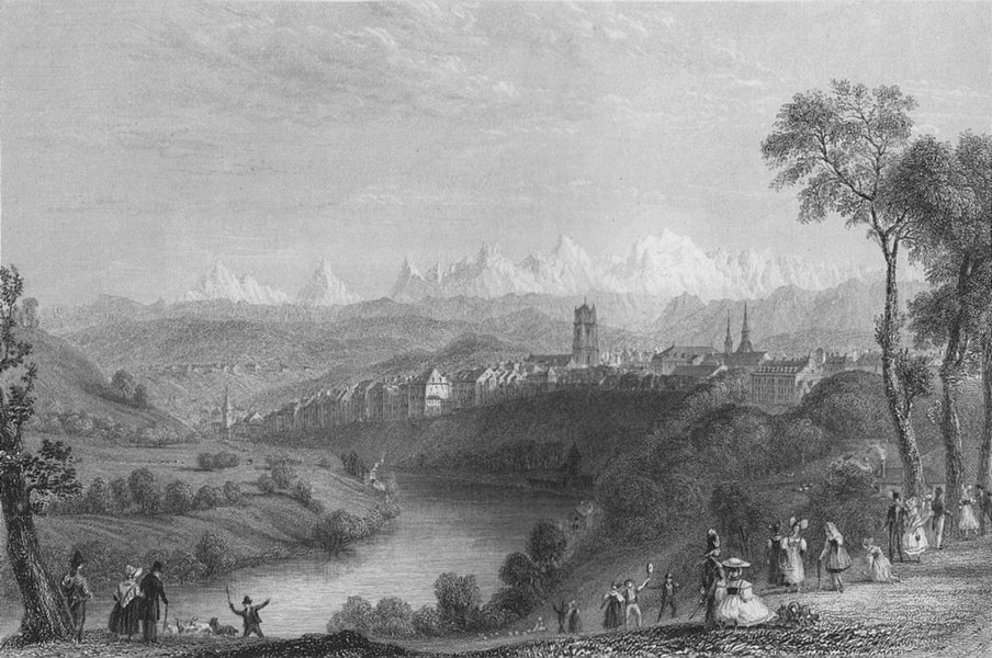 Associate Product SWITZERLAND. Bern / Berne, with the Alps of the Oberland. BARTLETT 1836 print