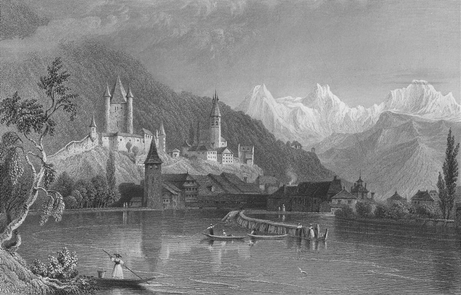 Associate Product SWITZERLAND. Thun, with the Bernese Alps. BARTLETT 1836 old antique print