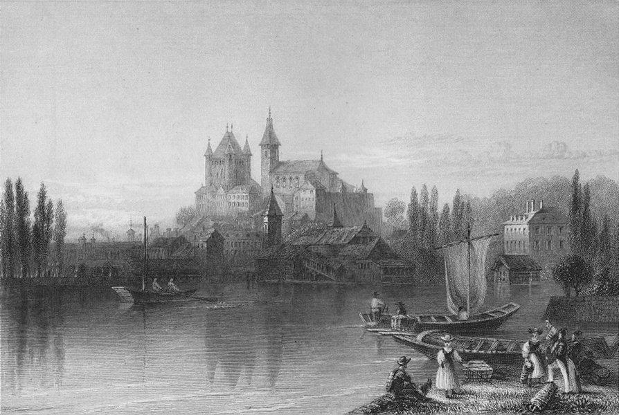 Associate Product SWITZERLAND. View of Thun, from the Lake (Canton Bern/Berne). BARTLETT 1836