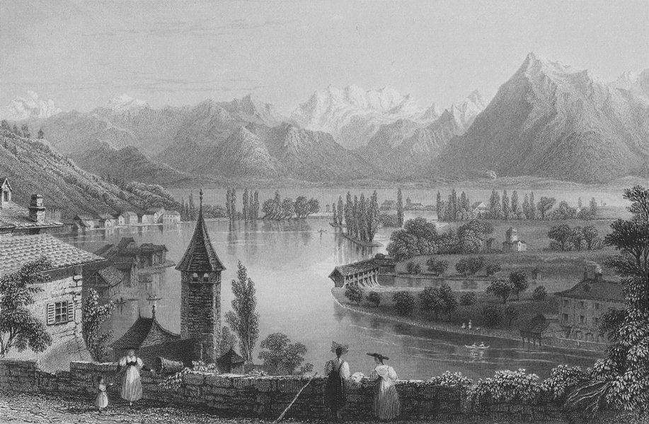Associate Product SWITZERLAND. Thun, from the Cemetery. BARTLETT 1836 old antique print picture