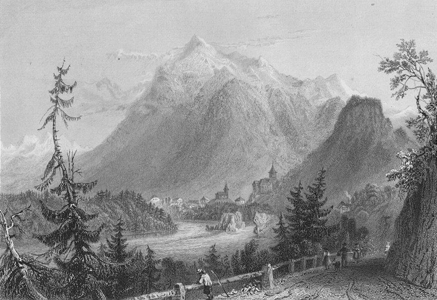 Associate Product SWITZERLAND. Entrance to Simmenthal (Canton Bern / Berne). BARTLETT 1836 print