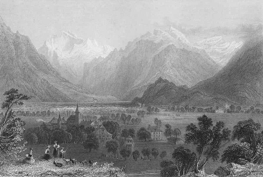 Associate Product SWITZERLAND. View of Interlaken. Interlacken, Canton Bern/Berne. BARTLETT 1836