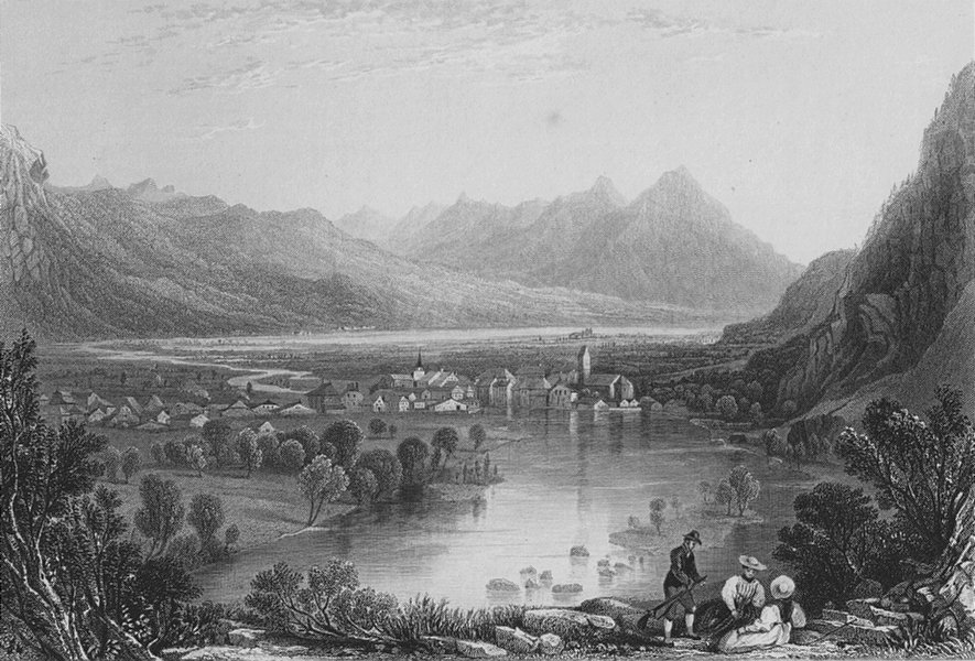 Associate Product SWITZERLAND. View of Unterseen. BARTLETT 1836 old antique print picture