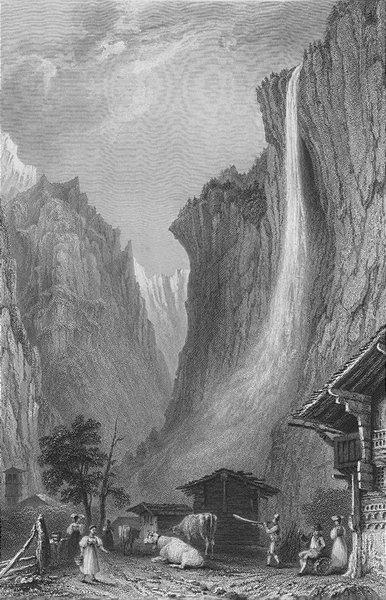 Associate Product SWITZERLAND. Staubbach Falls (Canton Bern / Berne). BARTLETT 1836 old print