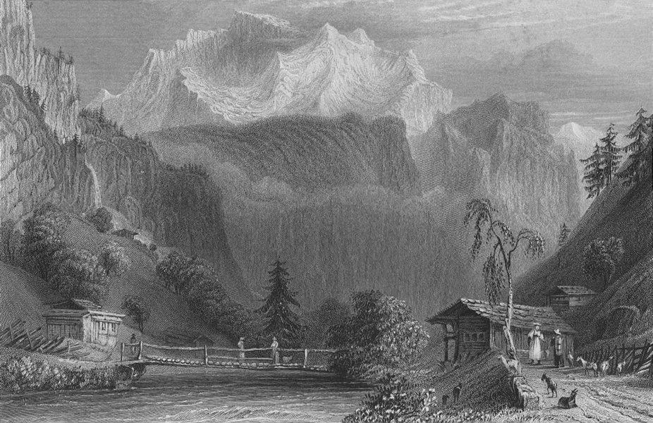 Associate Product SWITZERLAND. The Jungfrau (Bernese Oberland). BARTLETT 1836 old antique print