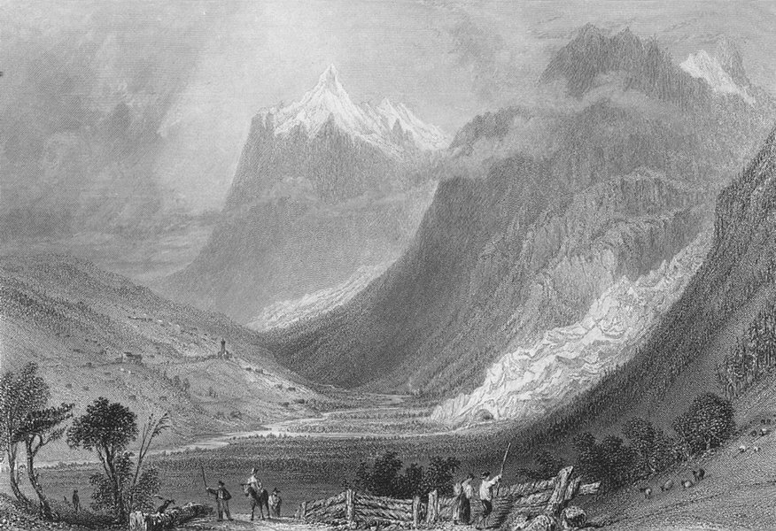 Associate Product SWITZERLAND. The Valley of Grindelwald, Canton Bern / Berne. BARTLETT 1836