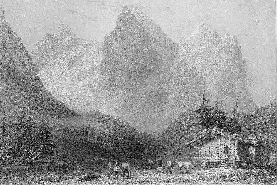 Associate Product SWITZERLAND. Wetterhorn with the Rosenlaui glacier. BARTLETT 1836 old print