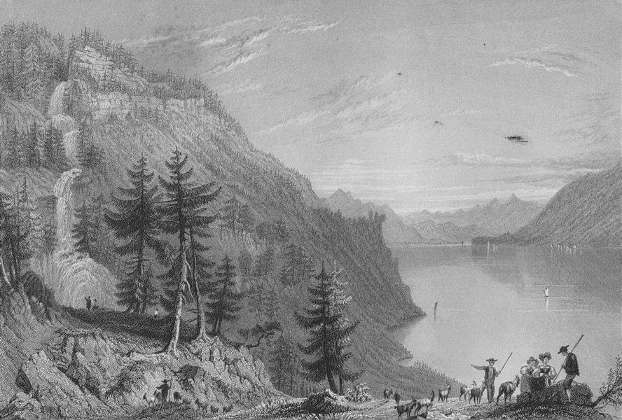 Associate Product SWITZERLAND. Lake Brientz with the Giesbach Cascade (Canton Berne).BARTLETT 1836