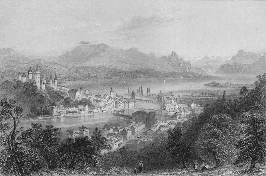 Associate Product SWITZERLAND. View of Lucerne / Luzern. BARTLETT 1836 old antique print picture