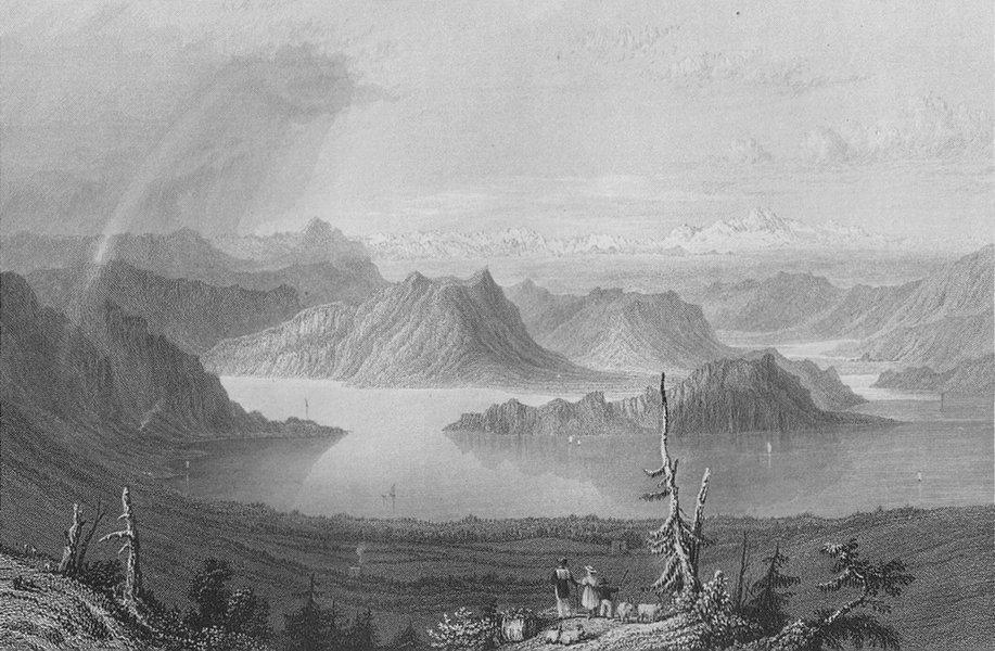 Associate Product SWITZERLAND. Lake Lucerne / Luzern from the Righi (Unterwalden). BARTLETT 1836