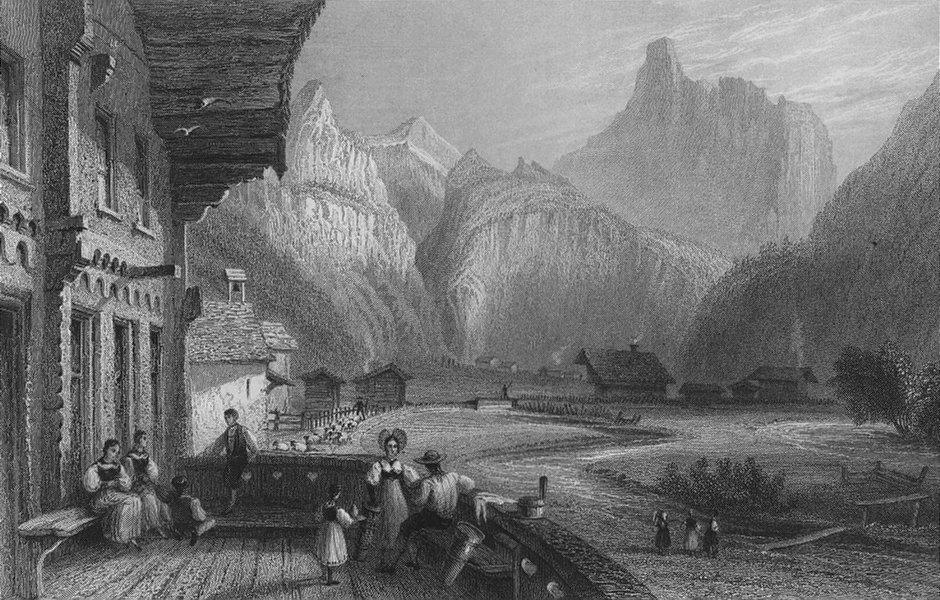 Associate Product SWITZERLAND. Village of Kandersteg, Canton Bern (Ghemmi Pass). BARTLETT 1836