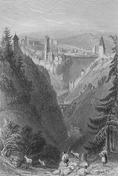 Associate Product SWITZERLAND. Defile of Getteron & Suspension Bridge, near Freyburg.BARTLETT 1836