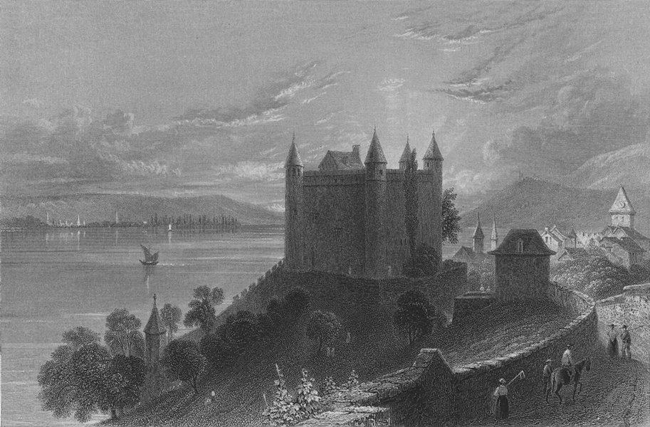 Associate Product SWITZERLAND. Castle of Granson (Lake of Neufchatel). BARTLETT 1836 old print