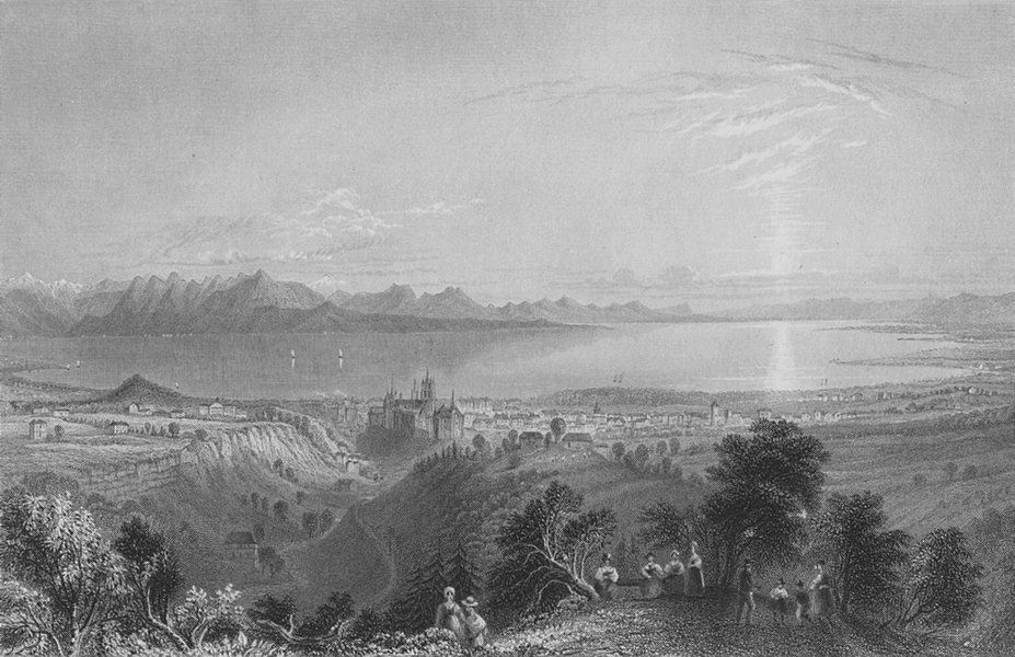 Associate Product SWITZERLAND. The Pays De Vaud, from above Lausanne. BARTLETT 1836 old print