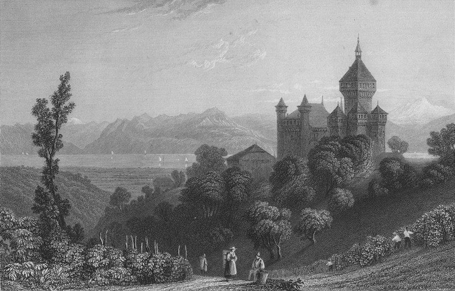 Associate Product SWITZERLAND. Chateau Wufflens (Pays de Vaud). BARTLETT 1836 old antique print