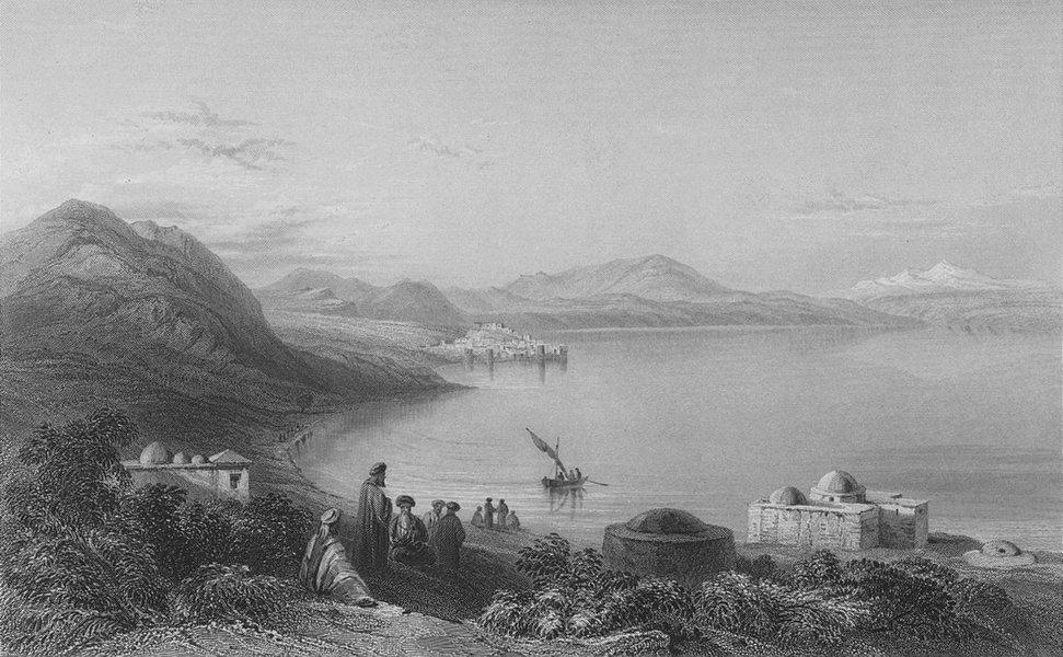 ISRAEL. Baths & Tiberias(Mount Hermon)-Bartlett 1847 old antique print picture