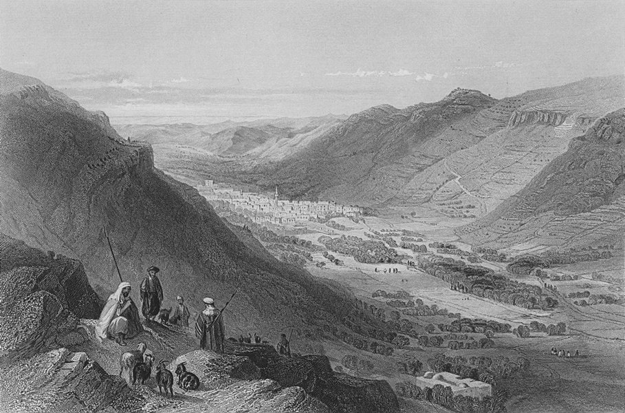 Associate Product ISRAEL. Valley of Sichem & Nablus-Bartlett 1847 old antique print picture