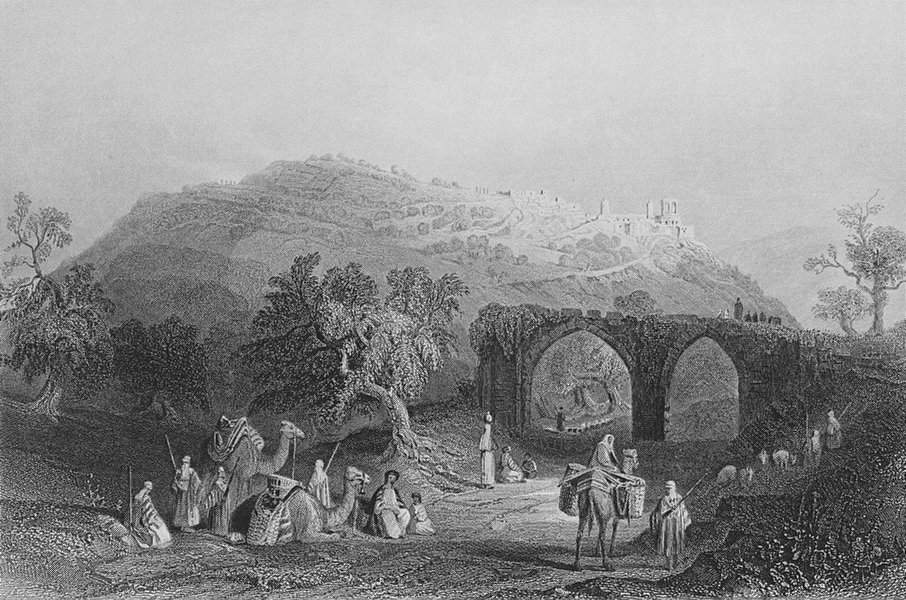 Associate Product ISRAEL. The Hill of Samaria-Bartlett 1847 old antique vintage print picture