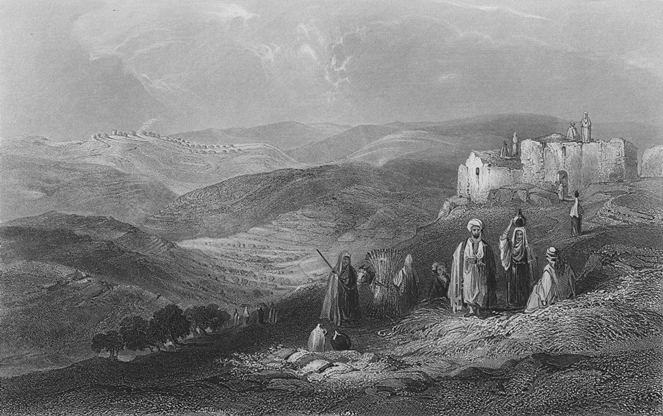 Associate Product ISRAEL. Gibeah, from Michmash-Bartlett 1847 old antique vintage print picture