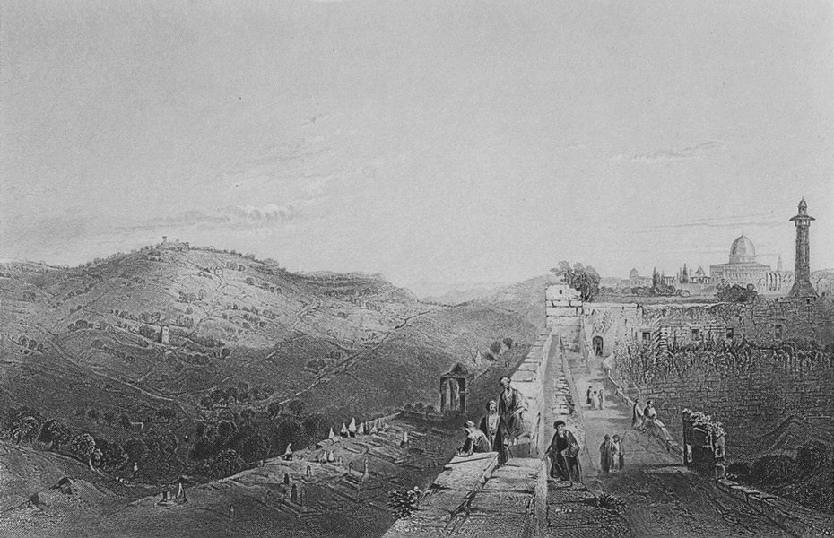 Associate Product ISRAEL. Mount of Olives, from Wall-Bartlett 1847 old antique print picture