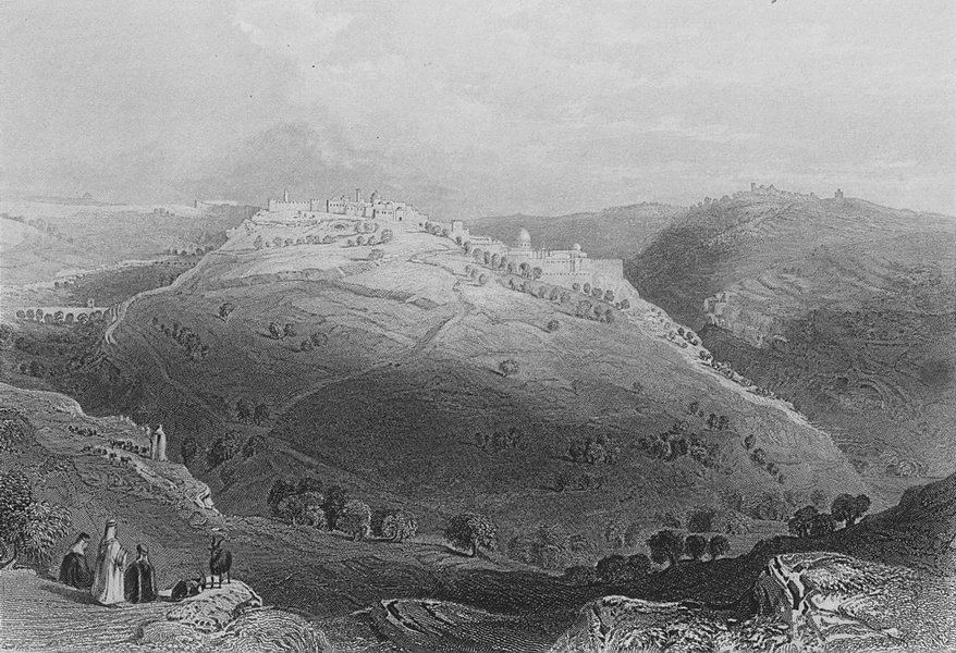 ISRAEL. Mount Zion, hill of Evil Counsel-Bartlett 1847 old antique print