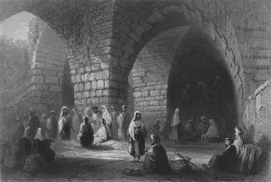 Associate Product JERUSALEM. Roman & Mediaeval Masonry-Bartlett 1847 old antique print picture