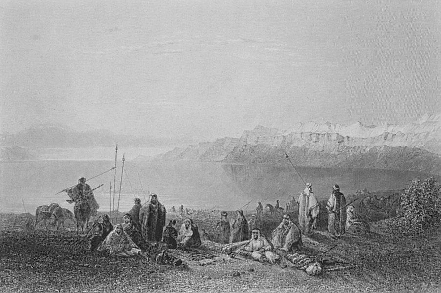 ISRAEL. Halt above north end of Dead Sea-Bartlett 1847 old antique print